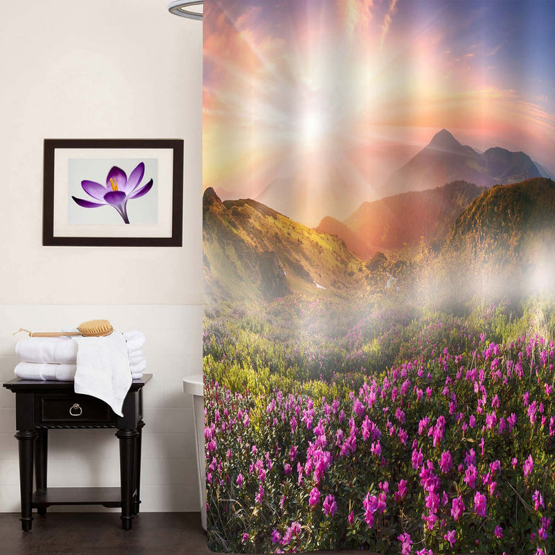 Trees and Mountain Peaks Spew Out of The Fog Shower Curtain - Multicolor