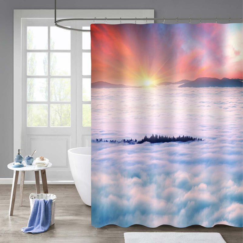 Sea Fog on a Mountain Valley in Carpathians Mountain Shower Curtain - Red White