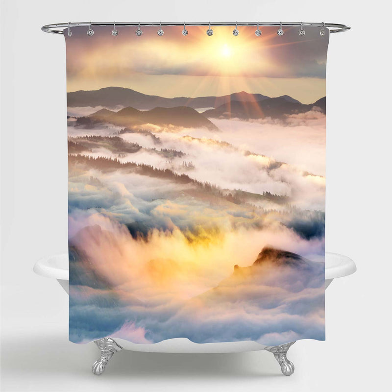 Mountain Morning of the Carpathians Landscape Shower Curtain - Gold White Grey