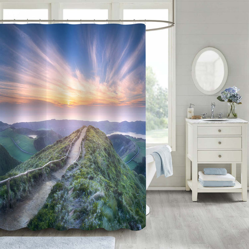 Mountain Landscape with Hiking Trail and Beautiful Lakes Shower Curtain - Blue Green