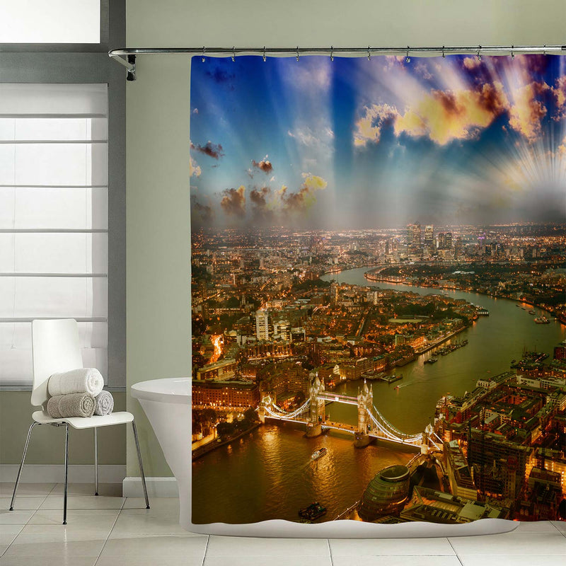 London Flaming Sunset Panoramic Picture Shower Curtain - Gold Blue