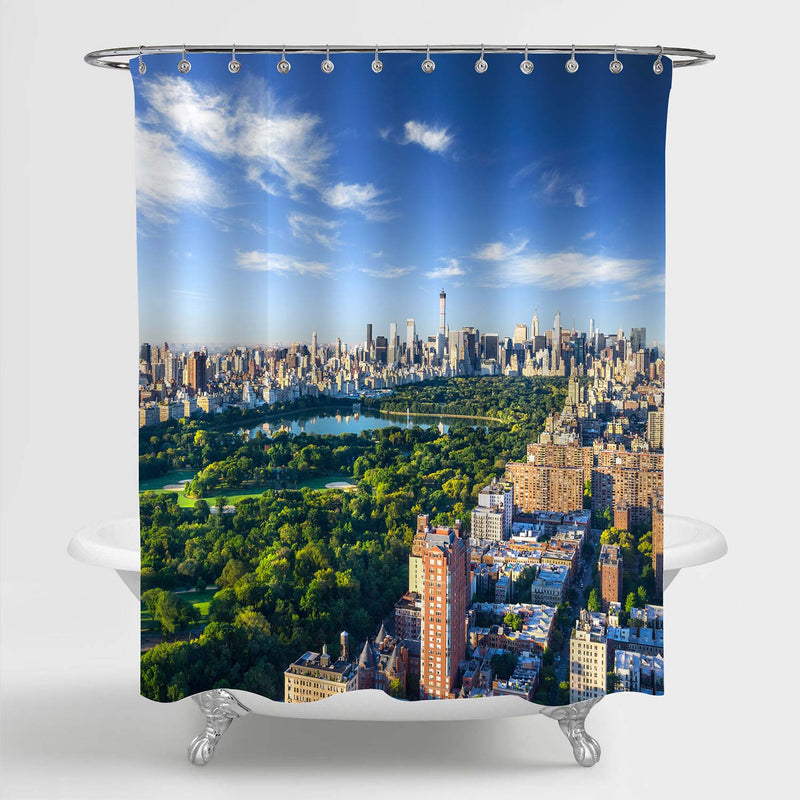 NYC Manhattan Central Park Aerial View Shower Curtain - Green Blue