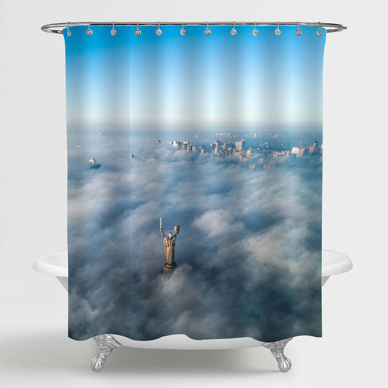Aerial View of European City in the Mist Shower Curtain - Blue Grey