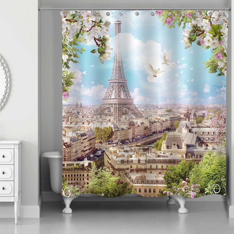 Eiffel Tower with Flowers of Apple Trees and Pigeons Shower Curtain - Beige Green