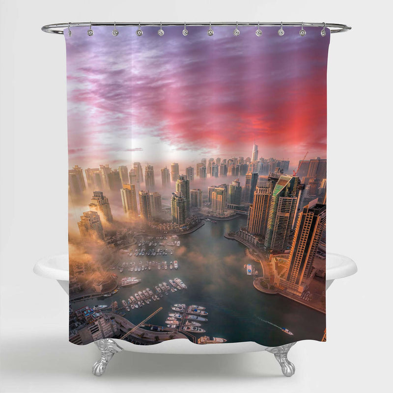 Panoramic Aerial View of a Stunning Sunset over Dubai Shower Curtain - Gold Red