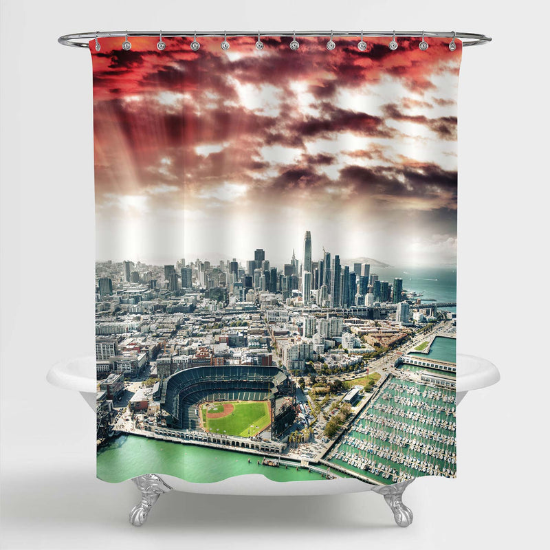 San Francisco Skyline Shower Curtain - Green Red