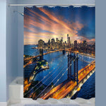 Sunset Over New York Manhattan and Brooklyn Bridge Panoramic Picture Shower Curtain - Blue Gold