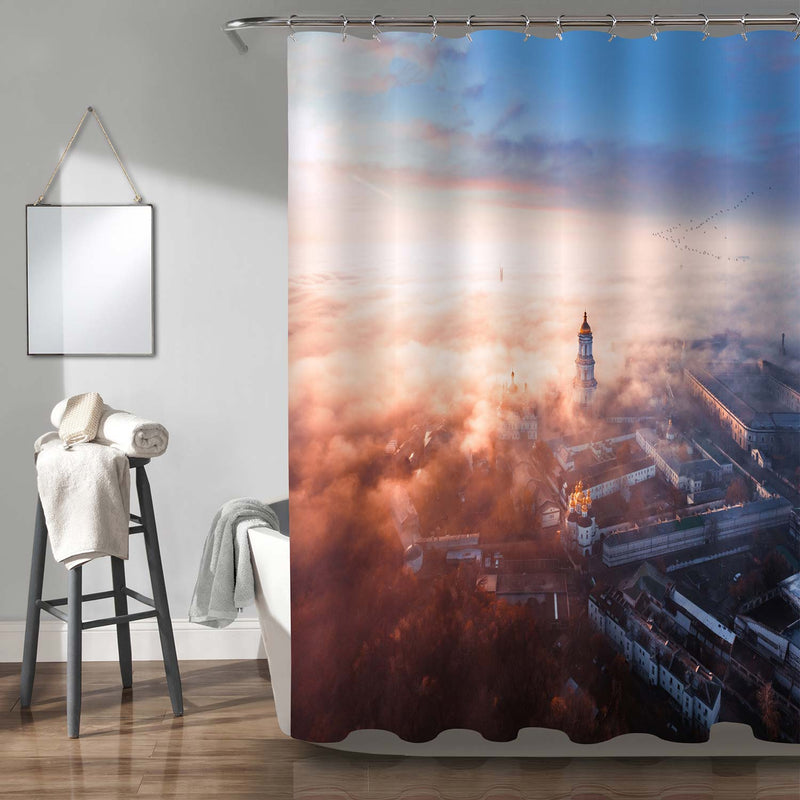 Aerial View of European City Shower Curtain