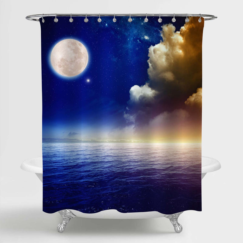 Sunset Sky with Full Moon Above Sea Shower Curtain - Blue Gold