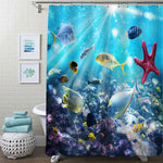 Underwater Scene with Coral Reefs, Tropical Fishes and Starfish Shower Curtain - Blue