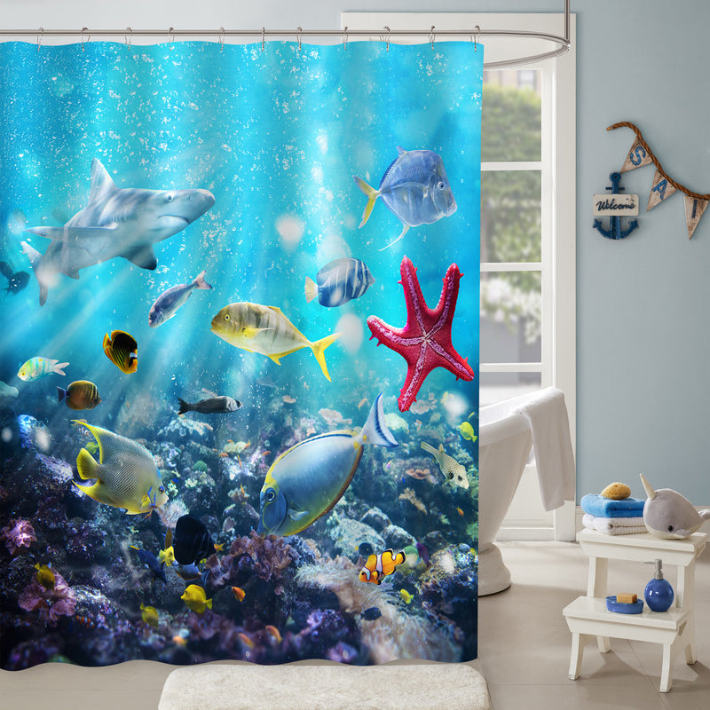Hawaiian Ocean Aquarium Shower Curtain - Blue