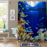 Underwater Coral Reef Landscape Shower Curtain - Blue