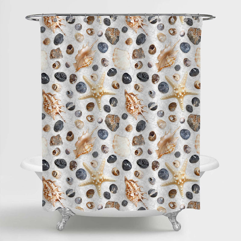 Marine Seashells Collection Shower Curtain - Brown Grey