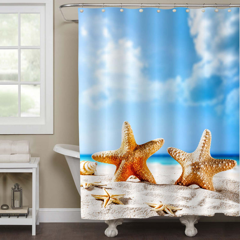 Sunny Day Time with Shell on Beach with Blur Sea and Sky Background Shower Curtain - Blue Gold