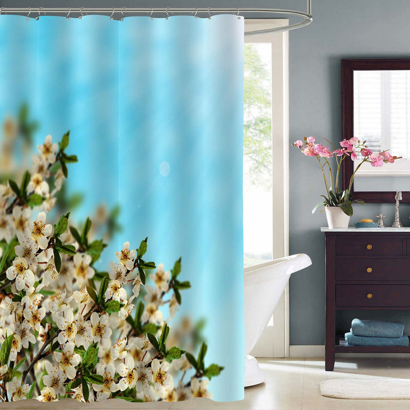 Cherry Blossom in Spring Time with Blue Sky Shower Curtain - Blue Green Whtie