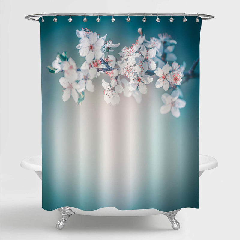 Blossoming Branch Cherry Florals Shower Curtain - Green Blue