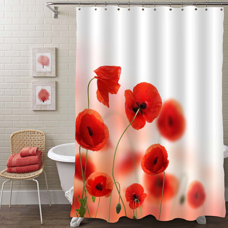 Spring Field of Red Poppy Flowers Shower Curtain - Red