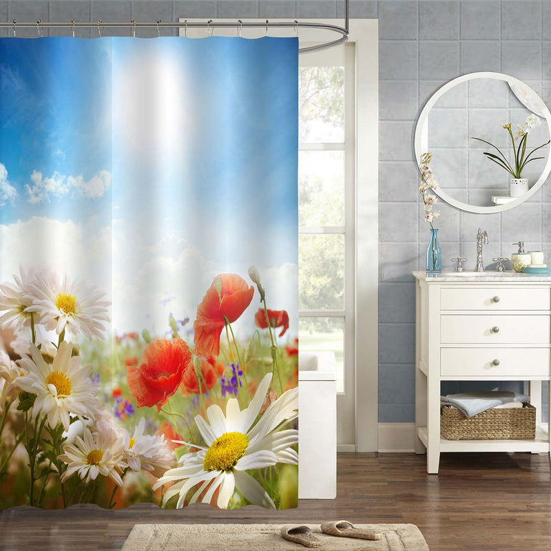Poppies Chamomile on Grass Field Shower Curtain - Multicolor