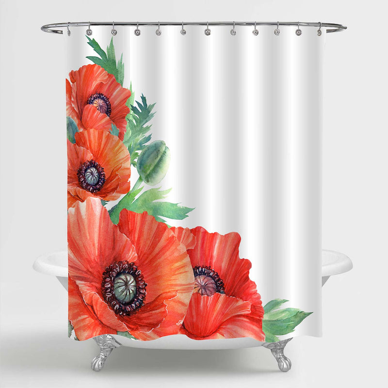 Poppy Flowers and Leaves Shower Curtain - Red Green