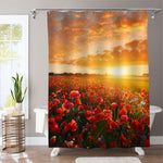 Endless Poppy Flower Fields at the Sunset Shower Curtain - Red Gold