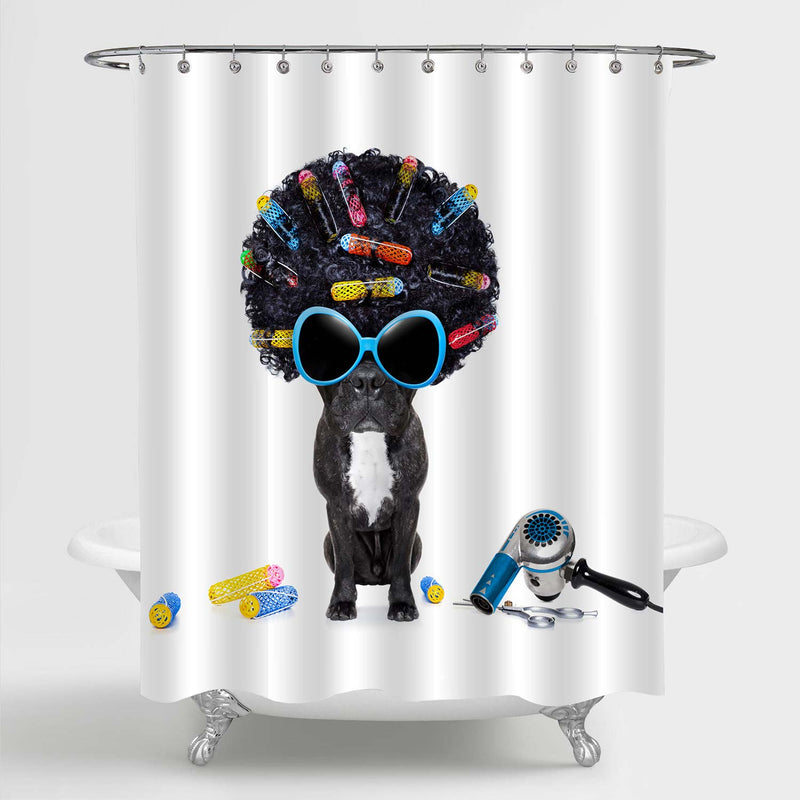 Dog at Hairdresser with Afro Black Hair and Glasses Shower Curtain - Black