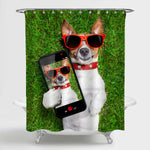 Dog Taking a Selfie and Smiling at Camera Shower Curtain - Green