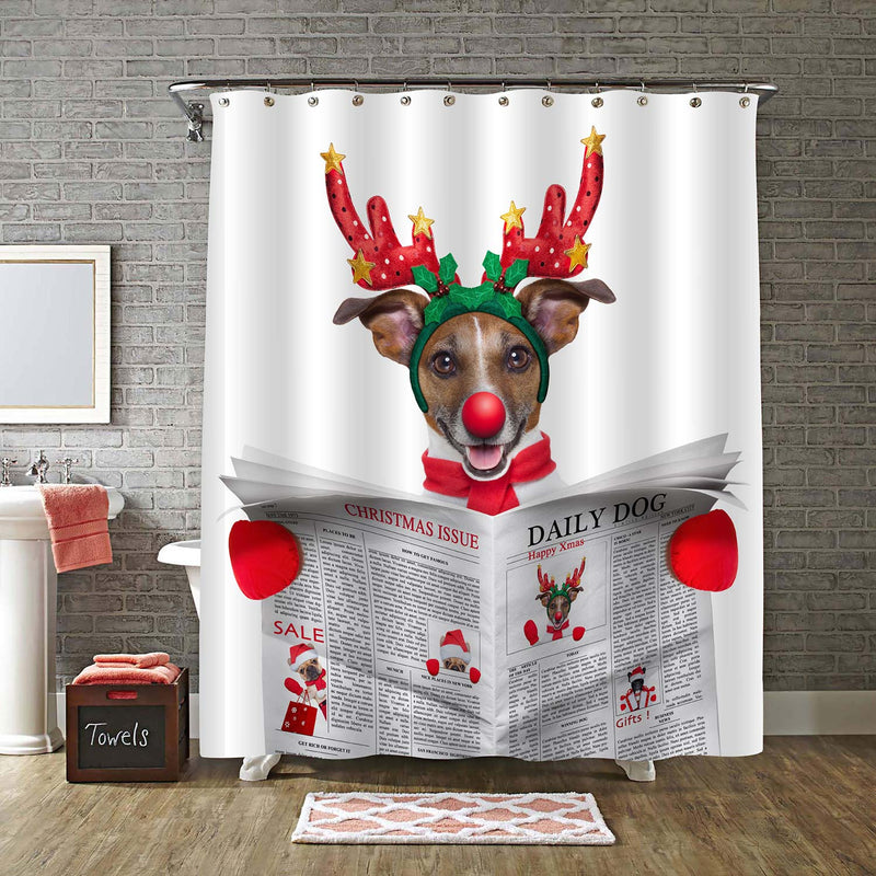 Jack Russell Dog Dressed as Santa Reading the Christmas Issue on Newspaper Shower Curtain - Red Grey