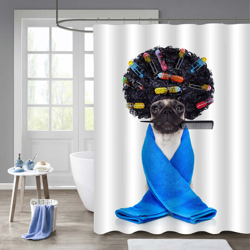 Pug Dog with Hair Rulers Shower Curtain - Black Blue