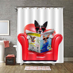Terrier Dog Reading Magazine and Tabloids on a Red Sofa Shower Curtain - Red