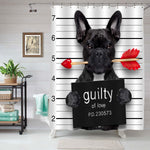 Bulldog with Rose in Mouth as a Mugshot Guilty for Love Shower Curtain - Black White