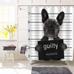 Criminal Mugshot of French Bulldog Dog at Police Station Holding Guilty Placard Shower Curtain - Black