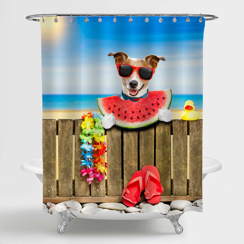 Jack Russel Dog Resting and Relaxing on a Wall or Fence at Beach Ocean Shore Shower Curtain - Blue Brown