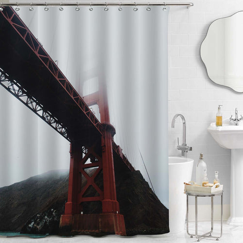 Worm's-Eye View of Golden Gate Bridge Covered by Fog Shower Curtain - Red Grey