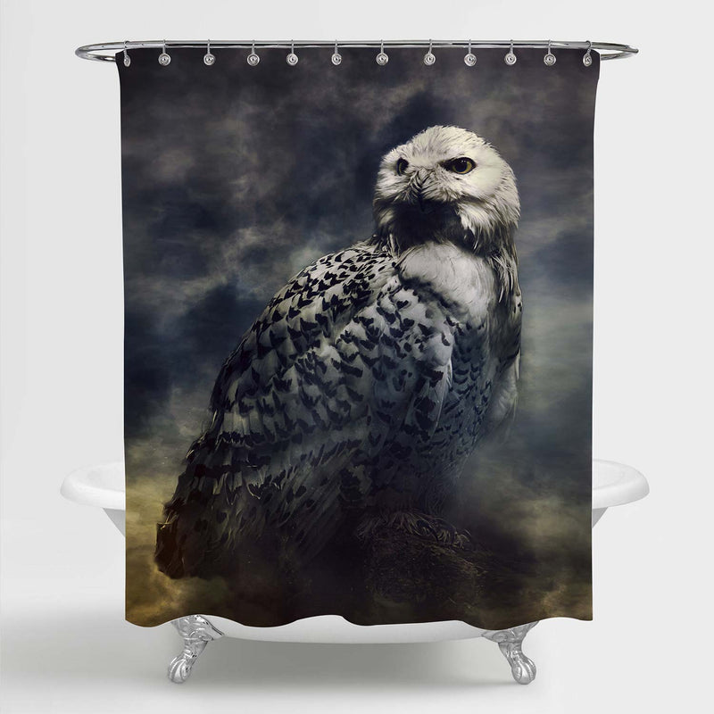 Closeup of Snowy Owl in the Fog Shower Curtain - Dark Grey
