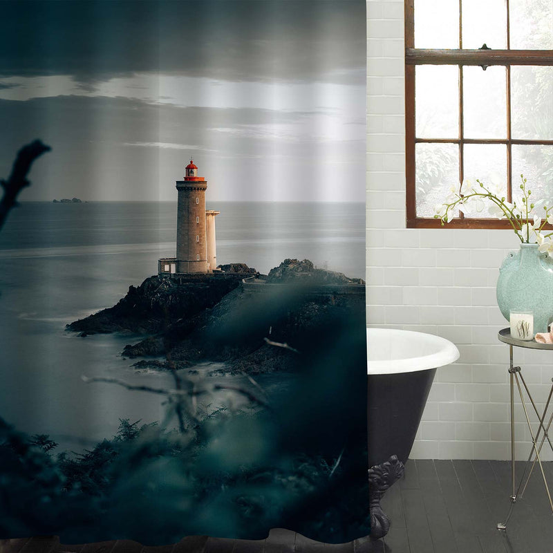 Antique Lighthouse with Concrete Path on Rocky Cliff Shower Curtain - Grey