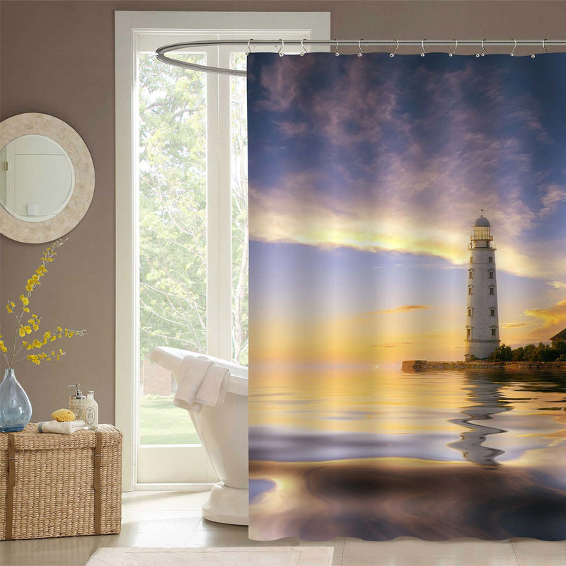 Maritime Lighthouse at Sunset Shower Curtain - Blue Gold