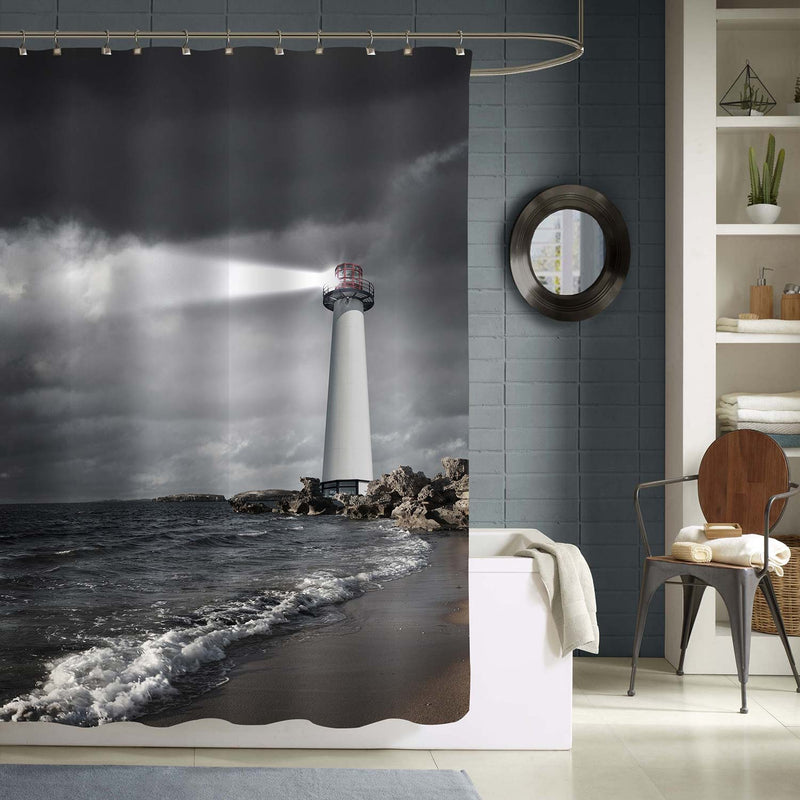Lighthouse with a Strong Beam of Light on Sea Shore Shower Curtain - Grey
