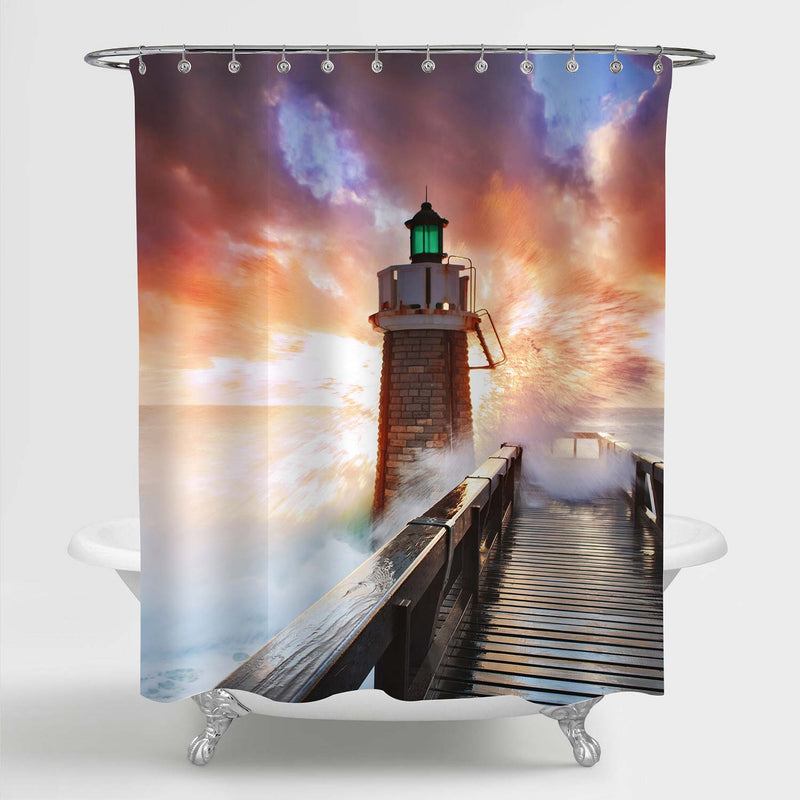 Marshall Point Lighthouse Shower Curtain - Gold Brown