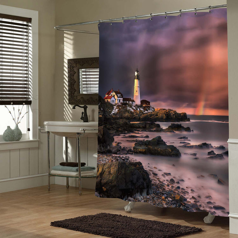 Portland Maine Coastal Lighthouse Shower Curtain - Purple