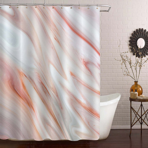 Abstract Marble Texture Shower Curtain - Peach Coral