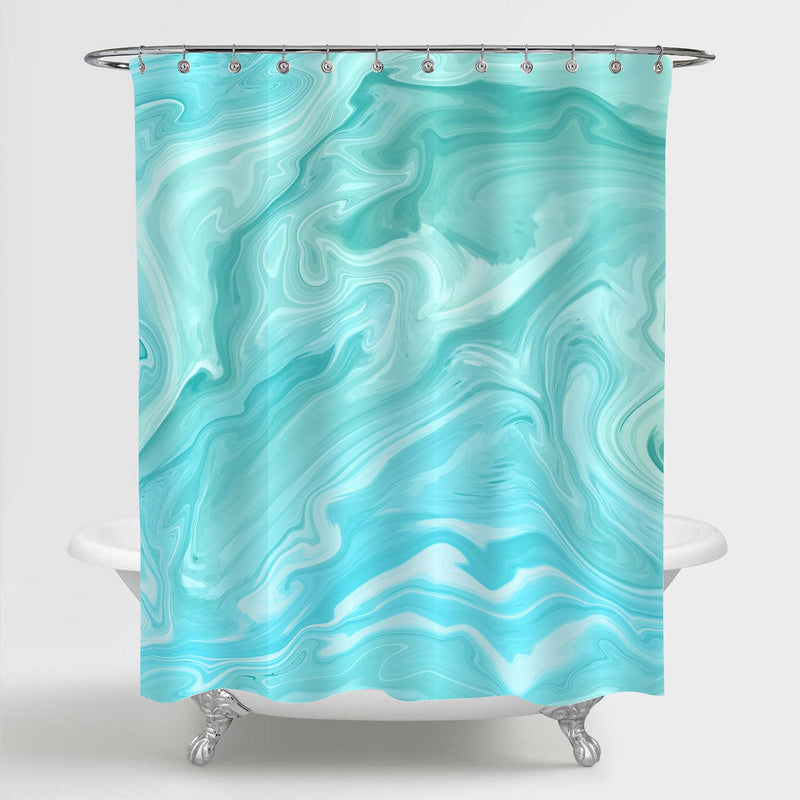 Natural Stone Marble Surface Shower Curtain - Turquoise
