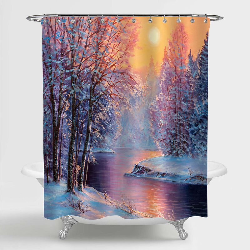 Oil Painting Winter Snowy Forest Sunrise Shower Curtain - Gold