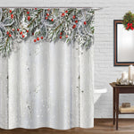 Wooden Plank with Red Berry and Holly Shower Curtain - Green Red White