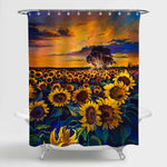 Oil Painting Sunflower Field at Sunset Shower Curtain - Gold Green