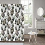 Monochrome Pineapple Shower Curtain - Grey