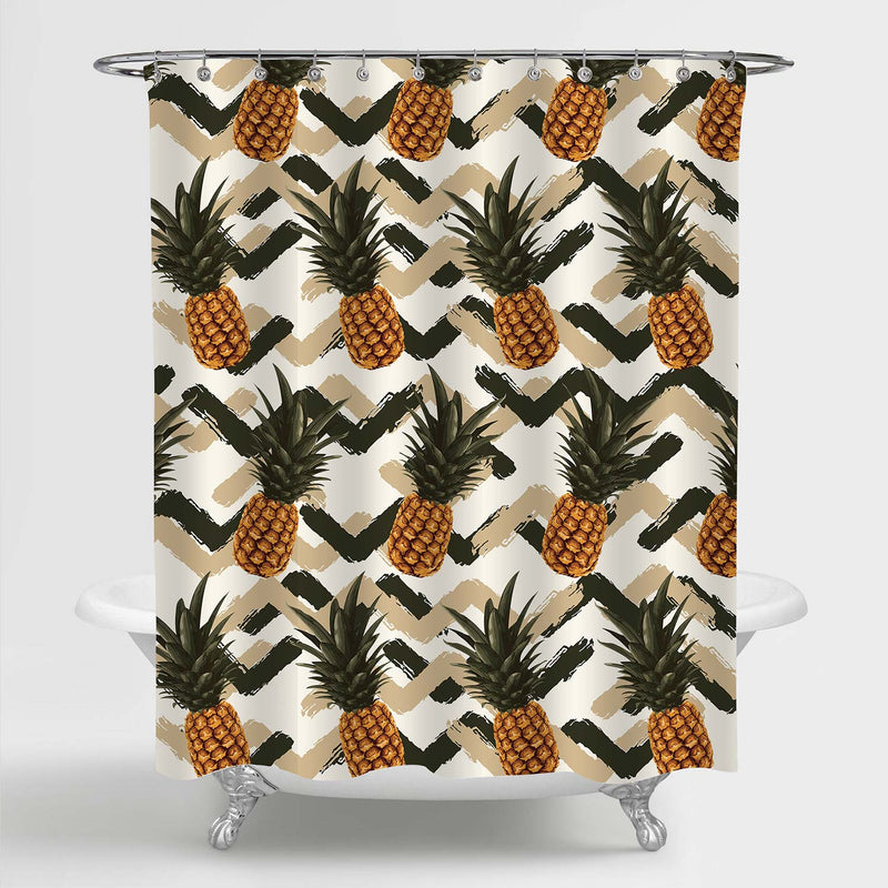 Tropical Fruits Pineapple with Zig Zag Pattern Shower Curtain