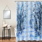Watercolor Road and Streetlights Covered with Snow Artwork Shower Curtain - Light Blue