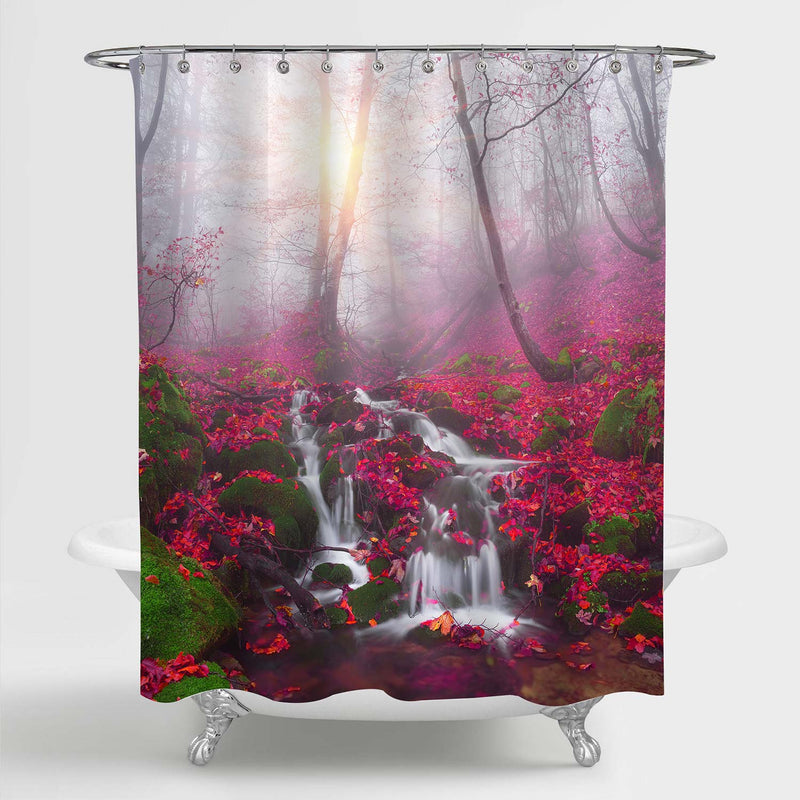 Waterfall River in Morning Foggy Forest Shower Curtain - Red
