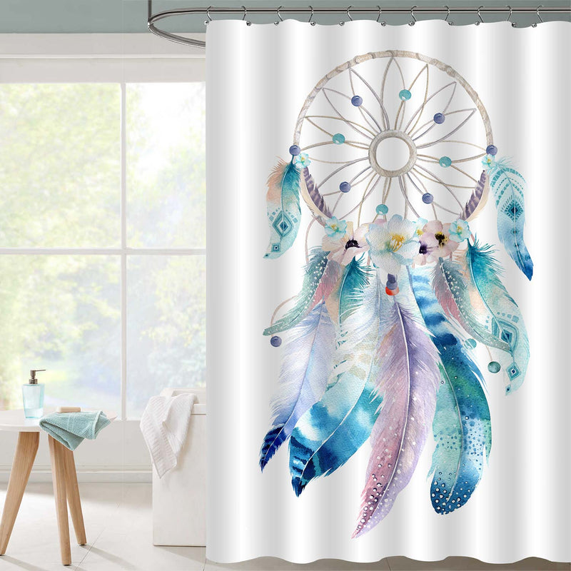 Boho Tribal Dream Catcher with Ethnic Feathers Shower Curtain - Multicolor