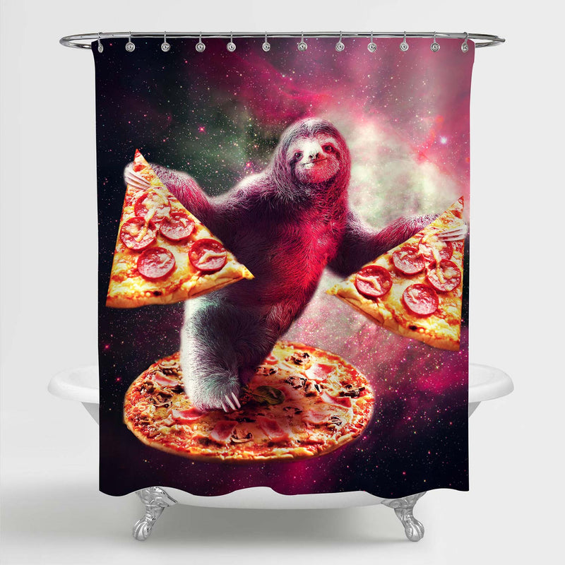 Cartoon Sloth with Pizza in Galaxy Space Shower Curtain - Pink